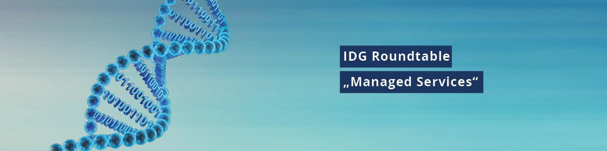 """Blauer Banner mit DNS ebenfalls Blau & Text mit """"IDG Roundtable Managed Services"""""""